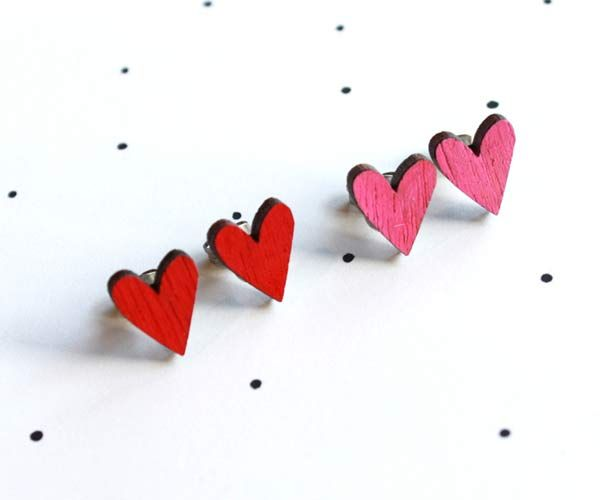 #heart #earrings by @:: so little time :: so much to see::  These little earrings are made from locally sourced wood, that is cut locally, hand painted and lovingly pieced together. All of our finding...