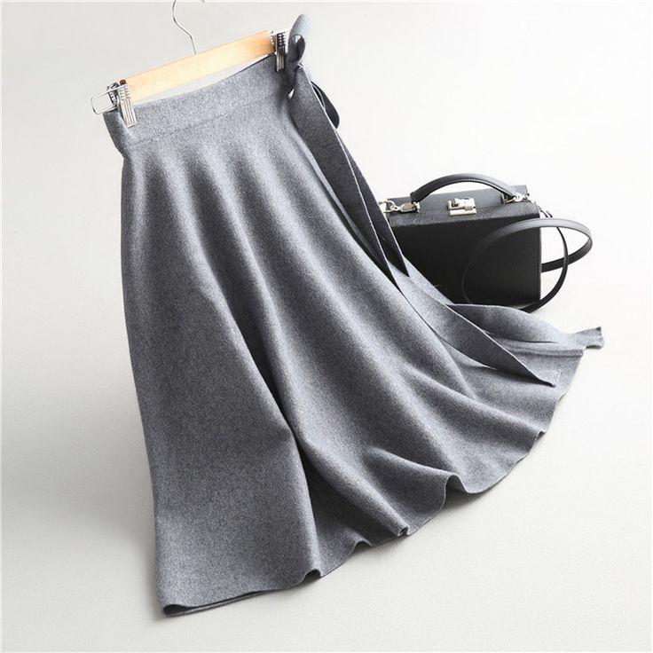 安い新しいニットスカート女性簡単な無地ハイウエストベルト付きニットスカートレディースエレガント一致すべてaライン冬セータースカート、購入品質スカート、直接中国のサプライヤーから:新しいニットスカート女性簡単な無地ハイウエストベルト付きニットスカートレディースエレガント一致すべてaライン冬セータースカート