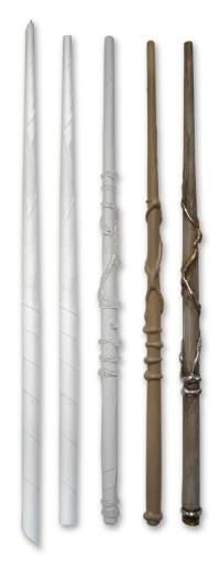 This is a tutorial for a Harry Potter wand, made out of rolled up newspaper, spray paint, and hot glue. If it was painted white and silver it would make a great WW wand too.
