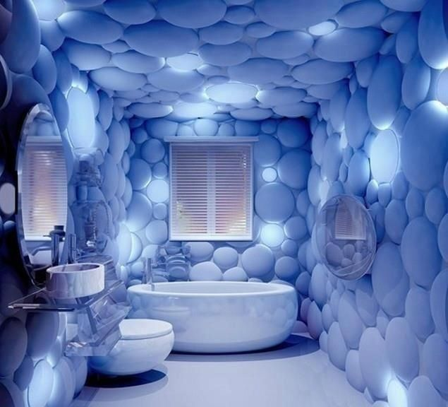 Odd Creative Bubble Bathroom Home Decor Design Blue Bathtub Toilet Sink