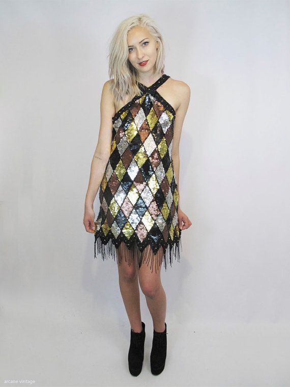 Amazing Silver Black And Gold Diamond Pattern Sequin Dress