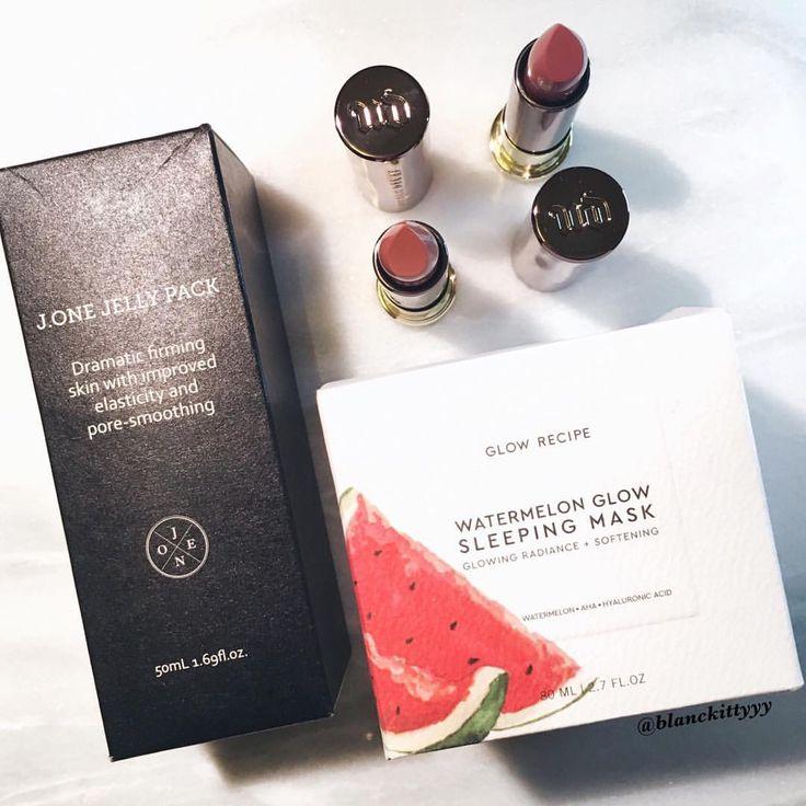 🛒J. One Jelly Pack 🛒Glow Recipe's Watermelon Glow Sleeping Mask. 🛒Urban Decay Lipsticks