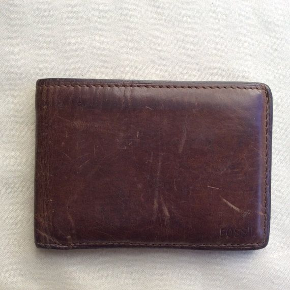 Vintage brown leather wallet small pocket wallet by coolclobber