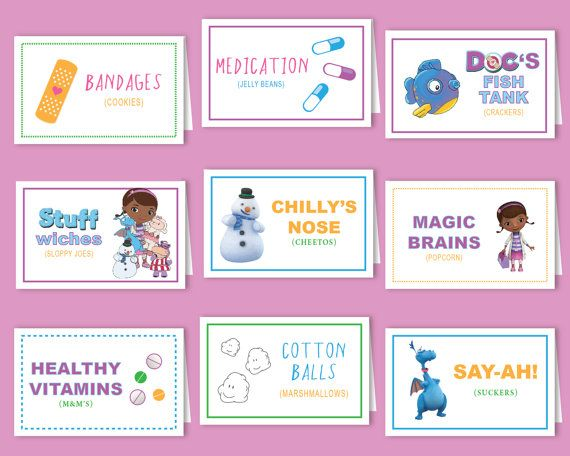 Placecards, Food Table, Doc Mcstuffin, Medicine, Cute, Fun, Creative, Characters, Boy or Girl, Disney, Birthday, Party, Custom, Printable