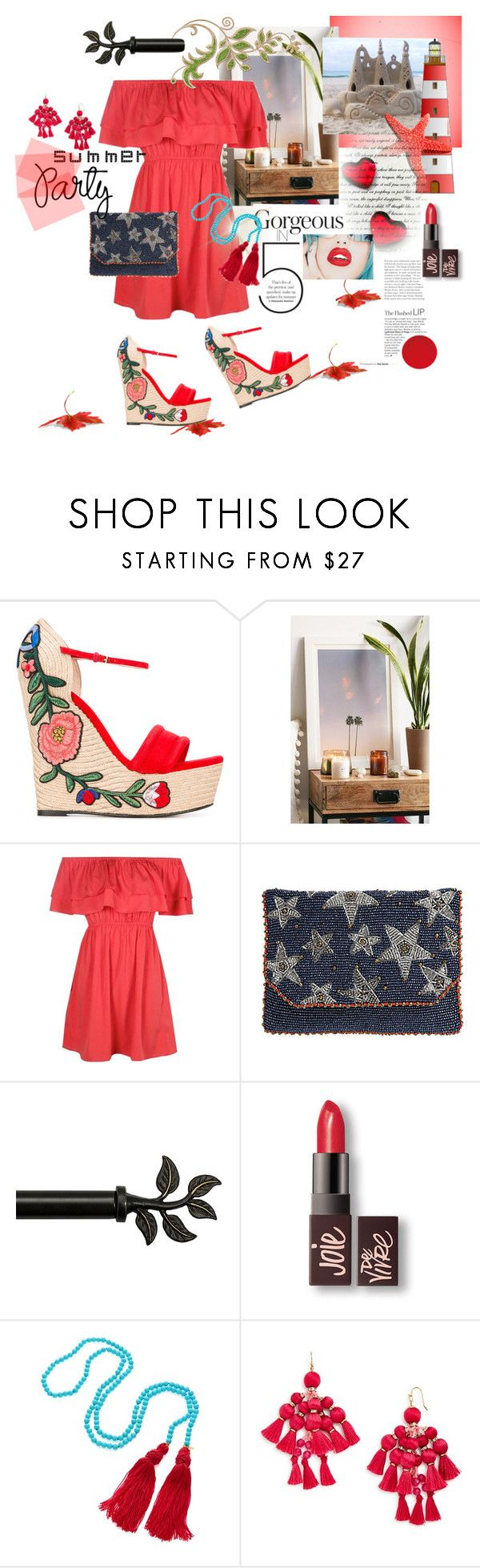 """""""Summer party"""" by pilar2017 ❤ liked on Polyvore featuring Gucci, Max Wanger, Boohoo, Mary Frances Accessories, Bali, Rupaul, Laura Mercier, Kenneth Jay Lane and Kate Spade"""