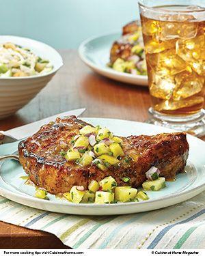 Spring forward with this seasonal meal of Pineapple-Glazed Pork Chops with Cucumber & Jicama Slaw.