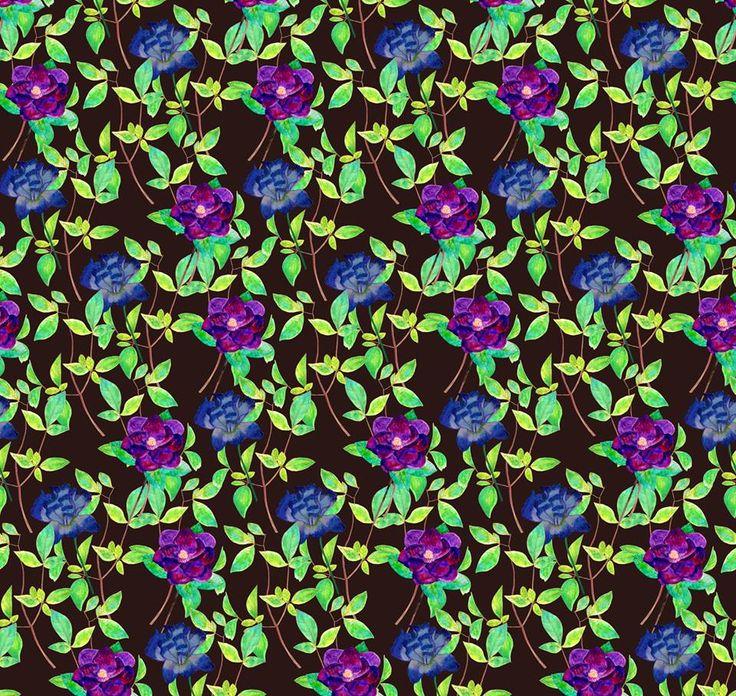 Watercolor painted flowers pattern design