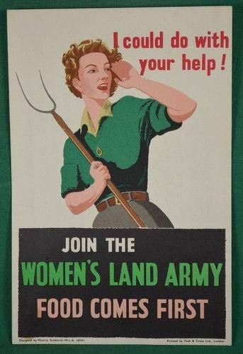 WW11 ORIGINAL WOMENS LAND ARMY POSTER BY MONICA GODDARD | eBay