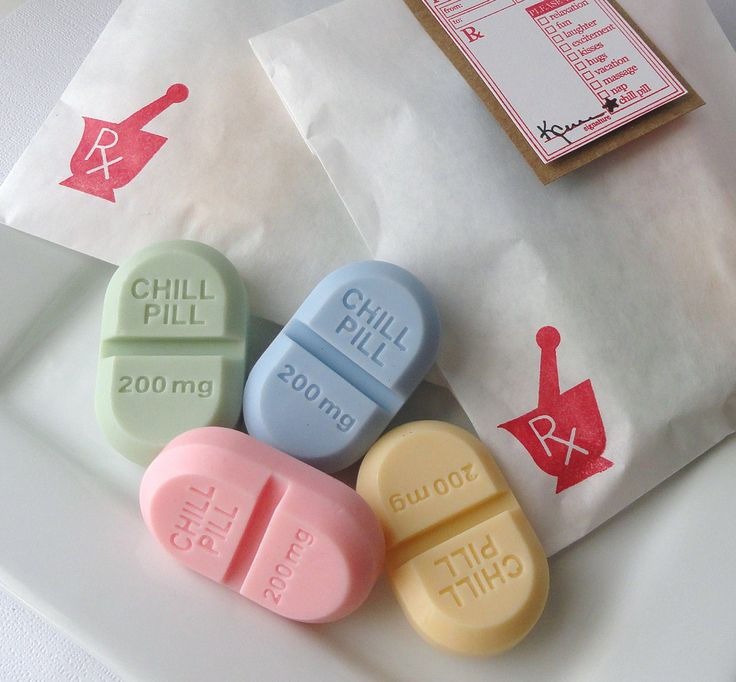 TAke a Chill Pill-RX Pill Soap Gift Set-Goat's Milk Soap-Blood Orange Scented. $7.50, via Etsy.