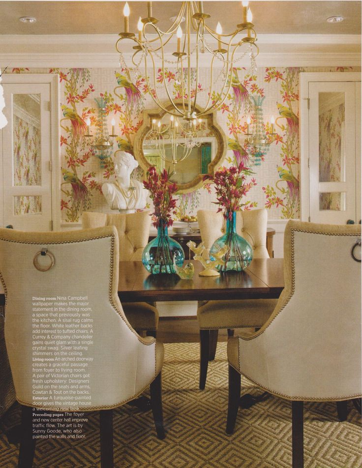 Colorful Wallpaper Makes A Statement In This Renovated Dining Room While Pair Of Mirrored Doors Add Sparkle