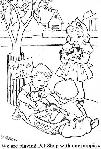 vintage coloring pages of children - photo#11