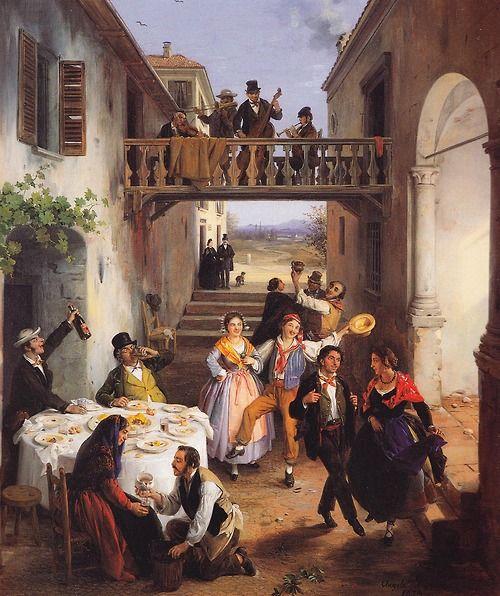 A Wedding at Brianza (1873). Angelo Inganni (Italian,...