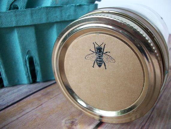 Honey Bee KRAFT paper Canning jar labels, vintage stickers for mason jars, fruit and vegetable preservation, CanningCrafts, Etsy $5