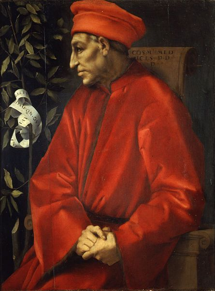 """Cosimo di Giovanni de' Medici (1389-1464)  -   part of the Medici political dynasty, de facto rulers of Florence during much of the Italian Renaissance; also known as """"Cosimo 'the Elder'""""  and """"Cosimo Pater Patriae"""" (Latin: 'father of the nation') painting by Jacopo Pontormo  (oil on panel)"""