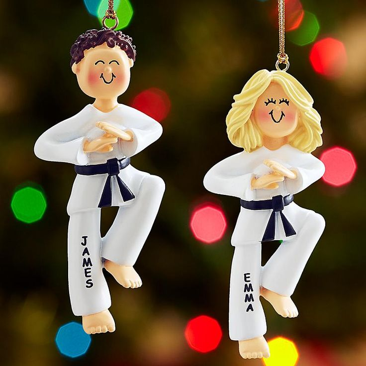 Martial Arts Ornament - What a kick it'll be to give your favorite black belt a hand painted ornament celebrating their favorite sport.