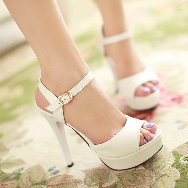 Sandálias femininas verão sexy alta-sapatos de salto alto saltos finos brancos sapatos de plataforma sapato dedo aberto das mulheres