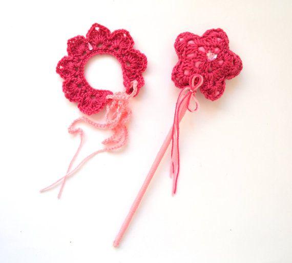 Magic Wand and Tiara Set Crochet Pink by LittleFoxCrochet on Etsy #crochet #crochettiara #crochetwand