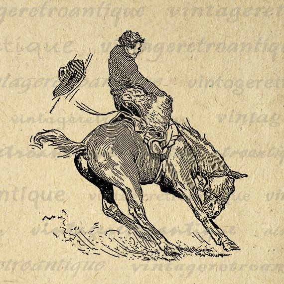 Printable Image Bucking Bronco Horse Cowboy Download Horseback Rider Digital Graphic Artwork Vintage Clip Art 18x18 HQ 300dpi No.3148 @ vintageretroantique.etsy.com #DigitalArt #Printable #Art #VintageRetroAntique #Digital #Clipart #Download