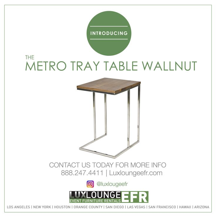 METRO TRAY TABLE WALLNUT #FURNITURE #DESIGN #LUXURY #RENTAL  #DECORATION #LUXLOUNGREEFR #WWWELDACHAIR