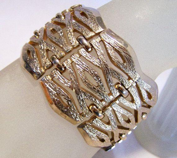 Monet Wide Textured Link Gold Tone Bracelet by GretelsTreasures