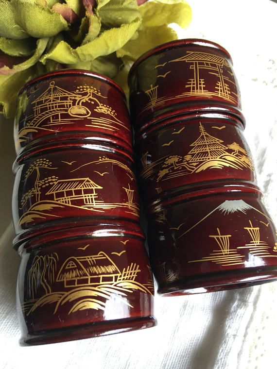 Asian Napkin Rings Chinese Gold Handpainted Chinoiserie Table