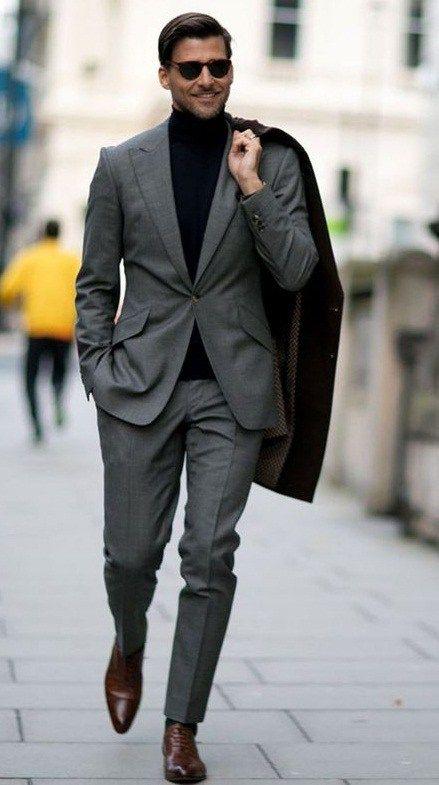 Charcoal grey suit black shirt