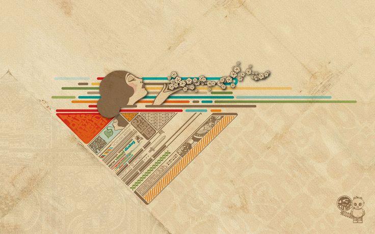 3d обои Ретро девушка дарит воздушный поцелуй, цветные полосы  абстракция # 18558