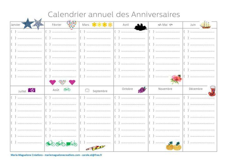 calendrier annuel des anniversaires offert en t l chargement gratuit sur le blog marie. Black Bedroom Furniture Sets. Home Design Ideas