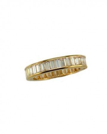 Oscar Heyman Gold Cross Set Baguette Diamond Guard Ring.