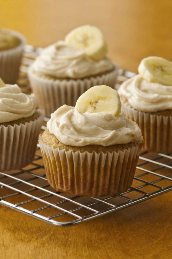 Mix super ripe bananas with yellow cake mix for delicious gluten-free cupcakes!