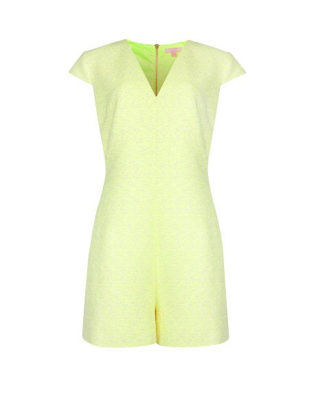 Textured structured playsuit - Bright Yellow   Playsuits & Jumpsuits   Ted Baker - Cute summer outfit sorted!