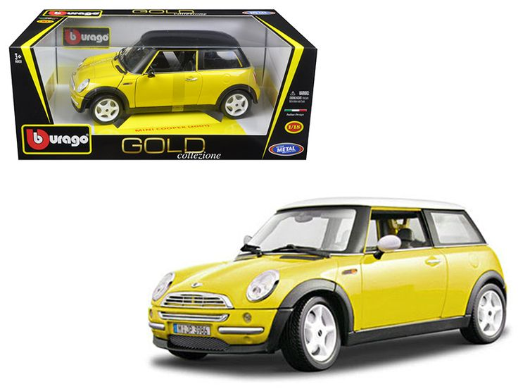 2001 Mini Cooper Yellow 1/18 Diecast Model Car by Bburago - Brand new 1:18 scale diecast 2001 Mini Cooper Yellow die cast model car by Bburago. Brand new box. Rubber tires. Has steerable wheels. Opening hood, trunk and doors. Made of diecast with some plastic parts. Detailed interior, exterior. Dimensions approximately L-7.5, W-3.5, H-3 inches. Please note that manufacturer may change packing box at any time. Product will stay exactly the same.-Weight: 4. Height: 8. Width: 15. Box Weight: 4…