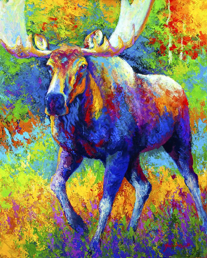 The Urge To Merge - Bull Moose Painting by Marion Rose - The Urge To Merge - Bull Moose Fine Art Prints and Posters for Sale