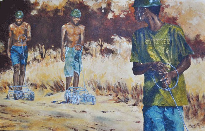 Wired Convoy    (oil on canvas, 700X1100X25mm)  by Lisl Barry   www.lislbarry.co.za  Little Karoo landscape and people