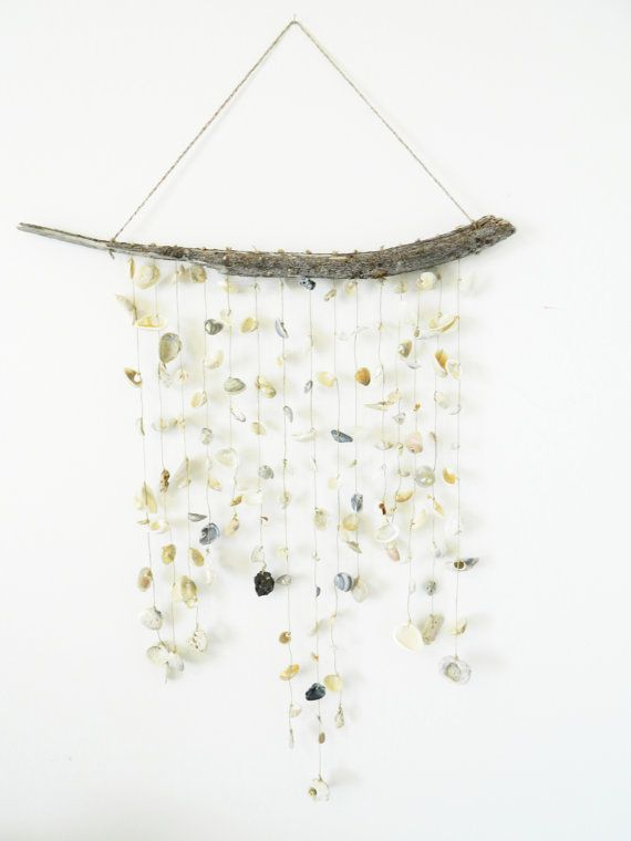 Shell Curtain Mobile White Cream Beige Tan by sassandwiggle