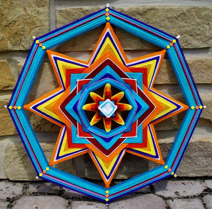 "18"" Yarn Mandala ""Sun Fire"" by Debra Newman ART"
