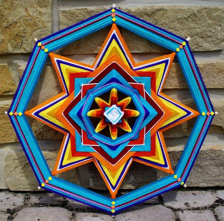 """18"""" Yarn Mandala """"Sun Fire"""" by Debra Newman ART"""