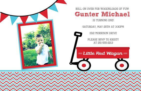 Radio Flyer Wagon Invitation by LittleLawsPrints on Etsy, $25.95 red wagon, birthday, invitation, party