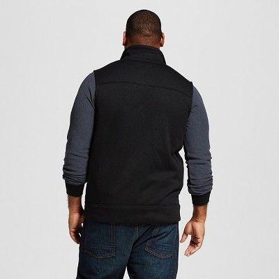 Men's Big & Tall Sweater Fleece Vest Black XL Tall - Merona, Size: Xlt