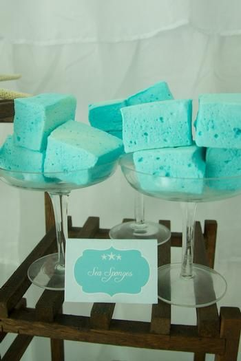Homemade marshmallows as sea sponges - Under the Sea Birthday Party and other party ideas, Go To www.likegossip.com to get more Gossip News!