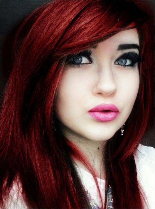 Unique Emo Dark Red Hair Color 2017 Trends with heavy bangs and Layers
