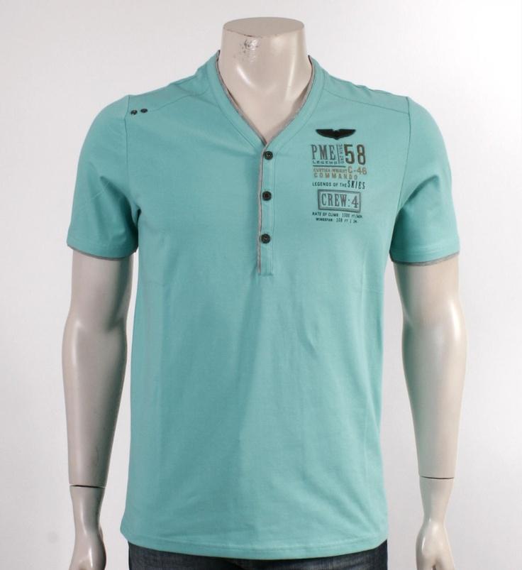 PME Legend Pall Mall T-shirt Aqua - herenkleding - NummerZestien.eu