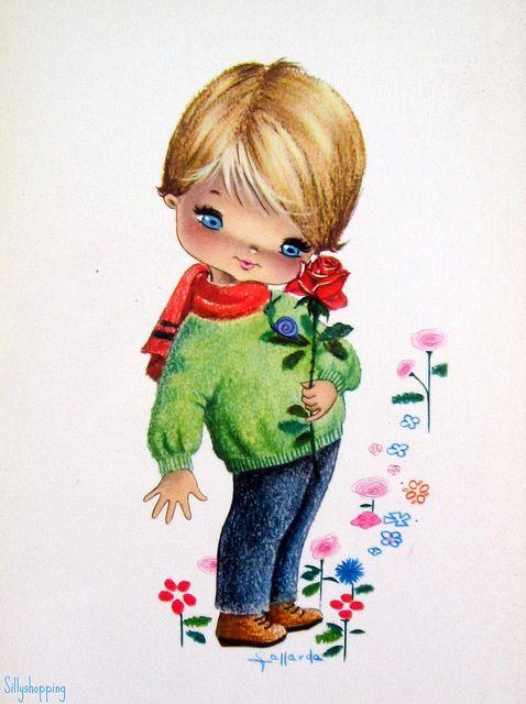 Vintage Big Eyed Boy Postcard    by Gallarda