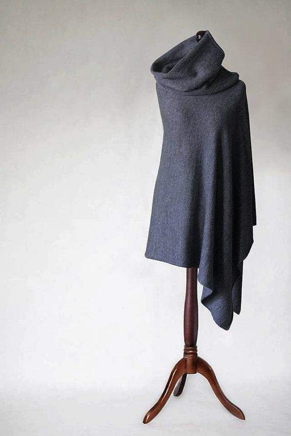 Women sweater, knit poncho, wool poncho, gray poncho, gray scarf, gray cape, women poncho, knit cape,knit scarf,wrap sweater,knit sweater