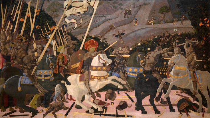 Niccolò Mauruzi da Tolentino at the Battle of San Romano (probably about 1438-1440), egg tempera with walnut oil and linseed oil on poplar, 182 × 320 cm, National Gallery, London.