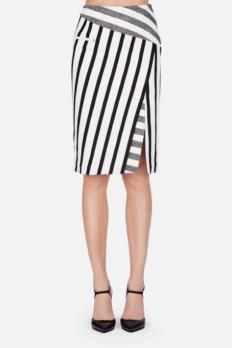 Altuzarra — Arcadia Skirt Black Blanket Stripe — THE LINE