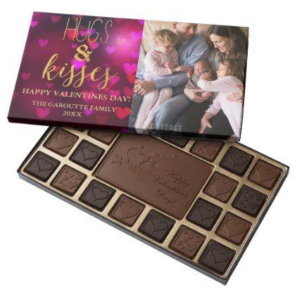 #Trendy Valentine's Day Bokeh Hearts Photo Assorted Chocolates - cyo customize design idea do it yourself