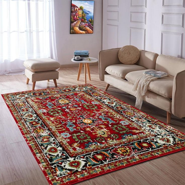 City collection red oriental 5 ft x 7 ft indoor area rug