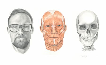 'Deconstructed Self Portrait' by Artist Damian Smith. Color pencil and graphite