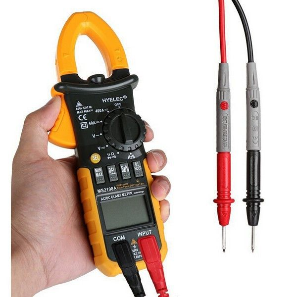 Hyelec Ms2108a Ac Dc Resistance Clamp Meter Minipa 4000 Counts Megohmmeter Multimeter. Description:   HYELEC MS2108A Digital AC DC Resistance Clamp Meter MINIPA 4000 Counts Megohmmeter Multimeter  Specification:    Material: ABS   Type: Measuring Instruments   Certificate: CE, RoHS   Safety Level: CAT.III 600V  Primary functions: Testing DC / AC voltage, AC / DC current; Resistance, Capacitance, Frequency and Duty cycle measuring   Features: 4000 Counts, Inrush current, True RMS…